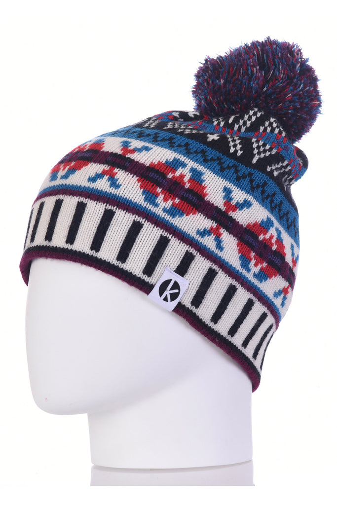 K-nit - Cormack 'Burster' Merino Wool Bobble Hat (Black & White)