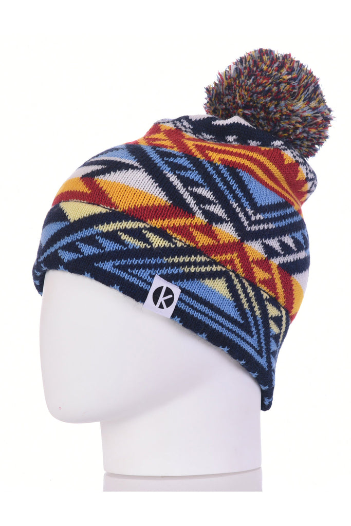 K-nit - Cormack 'Nava Say Nava' Merino Wool Bobble Hat (Blue)