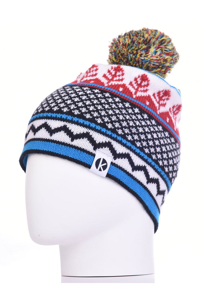 K-nit - Cormack 'Nordicai' Merino Wool Bobble Hat (Red)
