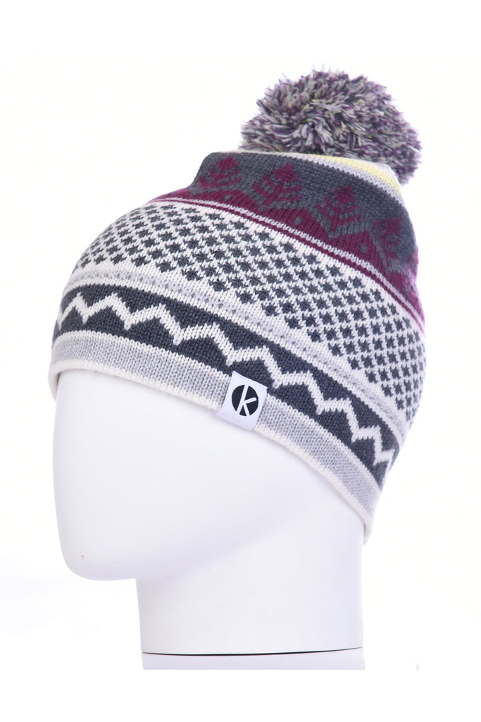 K-nit - Cormack 'Nordicai' Merino Wool Bobble Hat (Grey)