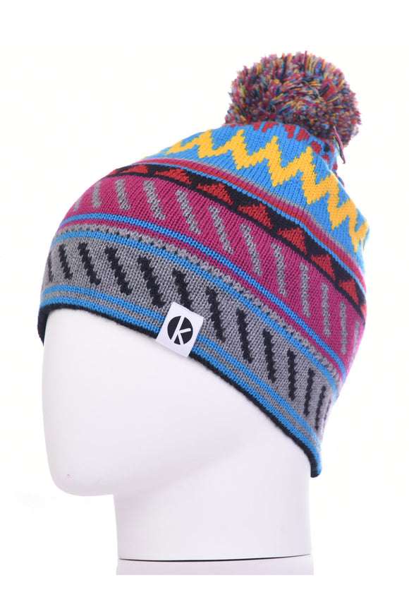 K-nit - Cormack 'Striangles' Merino Wool Bobble Hat (Blue)