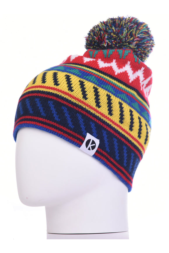 K-nit - Cormack 'Striangles' Merino Wool Bobble Hat (Red)