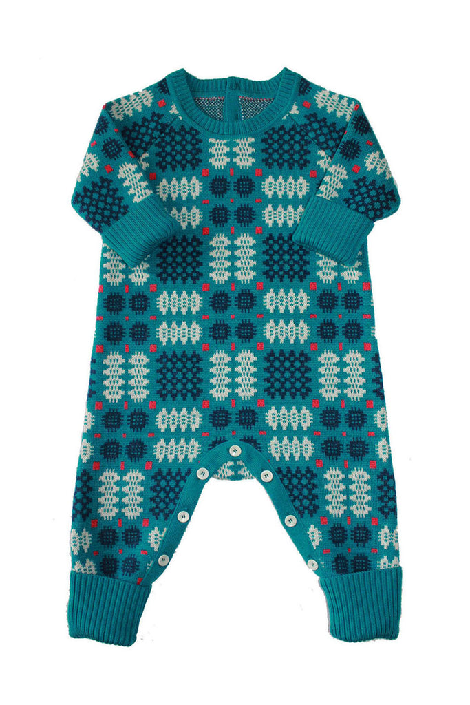 Mabli Portcullis Onesie in Blue. Stunning functional merino wool everyday clothing for toddlers and infants