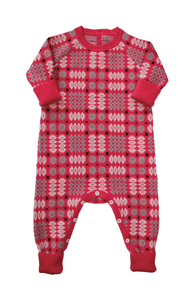 Mabli Portcullis Onesie in Vintage Pink. Stunning functional merino wool clothing for toddlers and infants