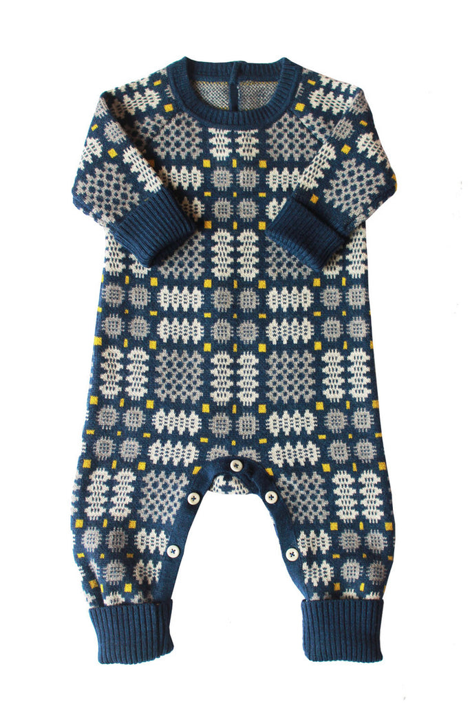 Mabli Portcullis Onesie in Blue. Stunning everyday merino wool clothing for toddlers and infants