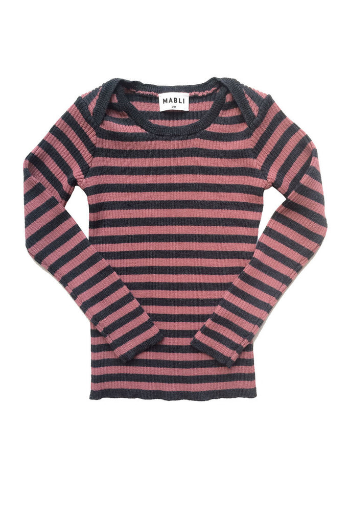 Mabli Skinny Rib Jumper in Antique Pink and Coal Stripe. Stunning everyday merino wool clothing for toddlers and infants