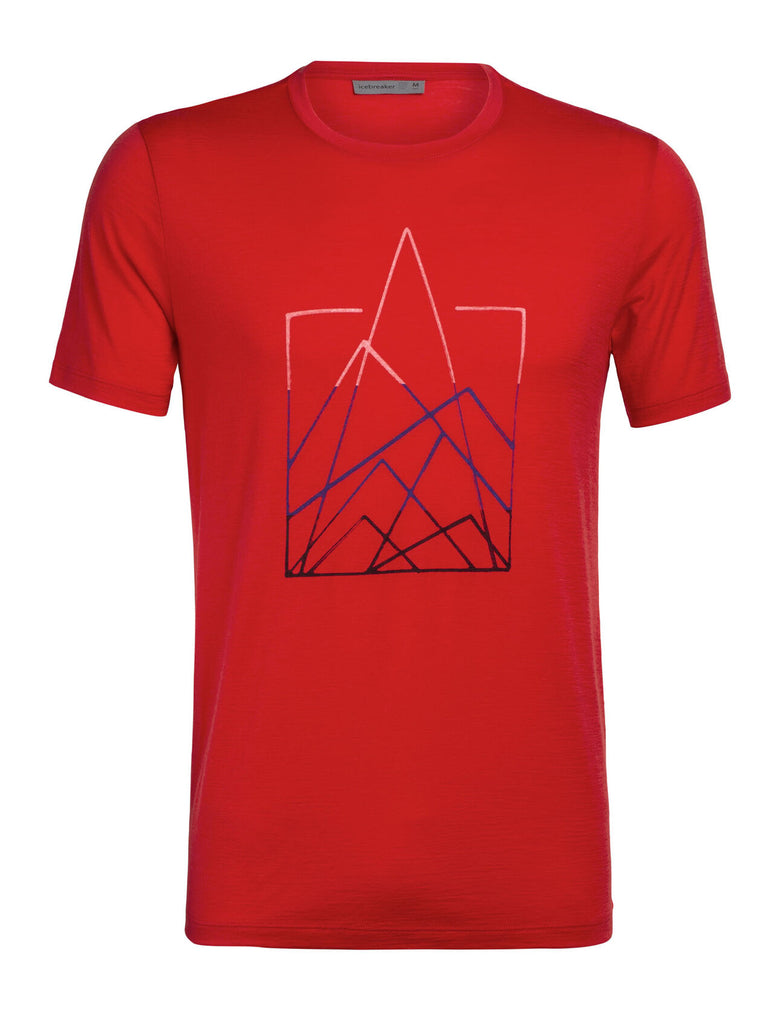 Icebreaker - Tech Lite T-Shirt for Men - 7 Pinnacles Short Sleeve Crewe in Red