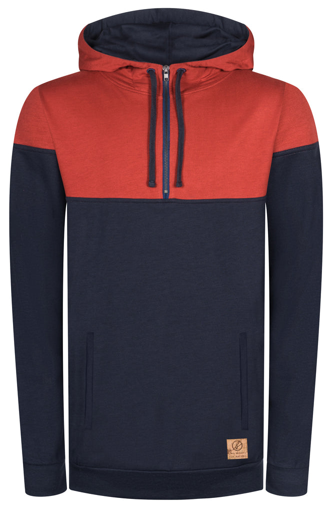 Bleed Organic Clothing - Men's Mountain Active Tencel Hoody (Navy/Red) - Eco Outdoor Gear | Free Shipping
