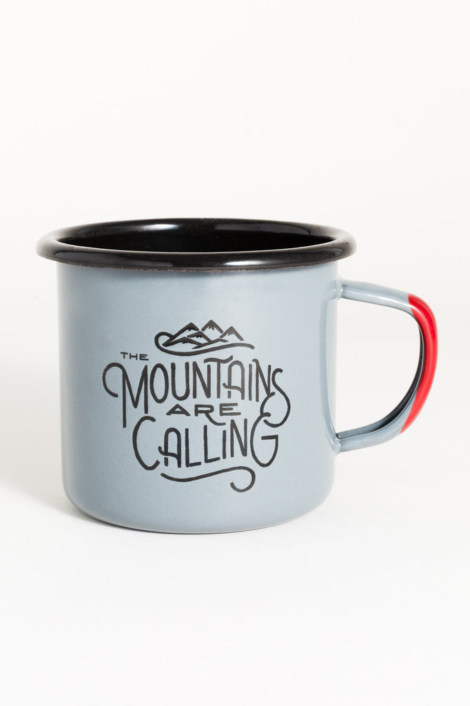 United By Blue - Mountains are Calling Enamel Steel Mug - Camping Mug