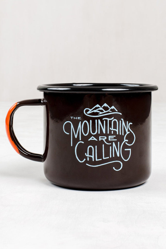 United By Blue The Mountains are Calling Enamel Steel Mug | TheOutdoorBoutique.com