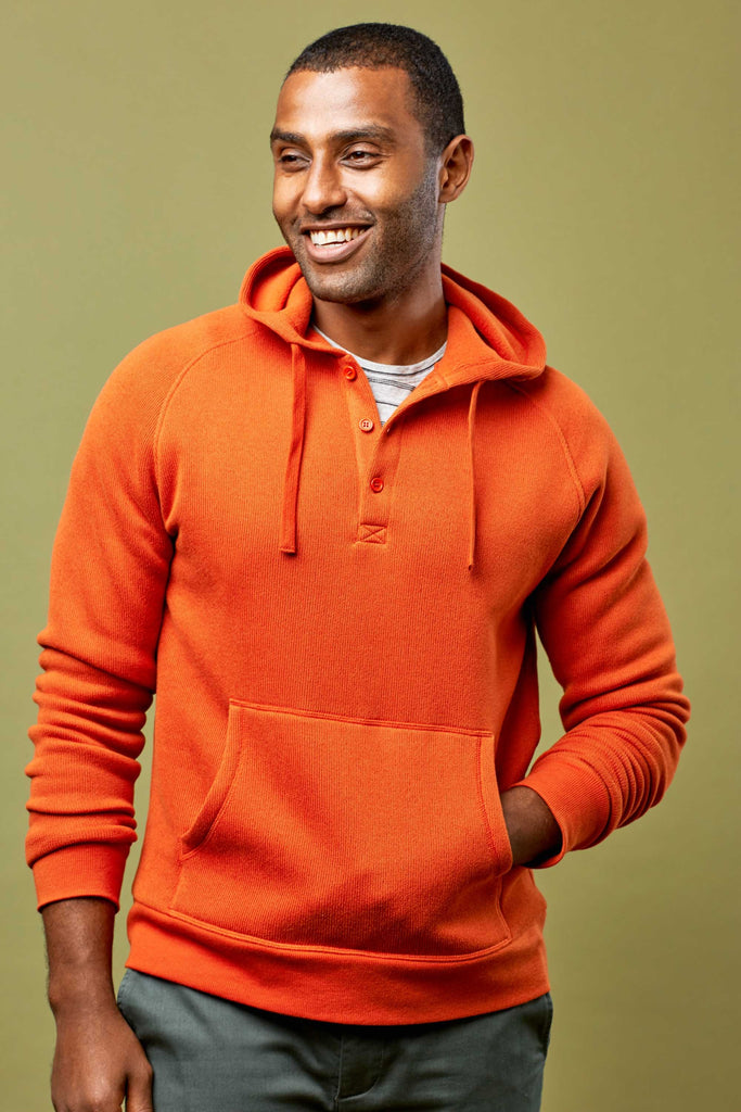Orange Organic Cotton Hoodie for Men - United By Blue Auckland Hoodie