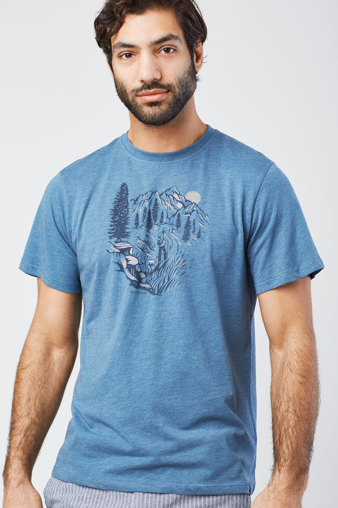 United By Blue Mens Passing Through Graphic T-Shirt Orion Blue