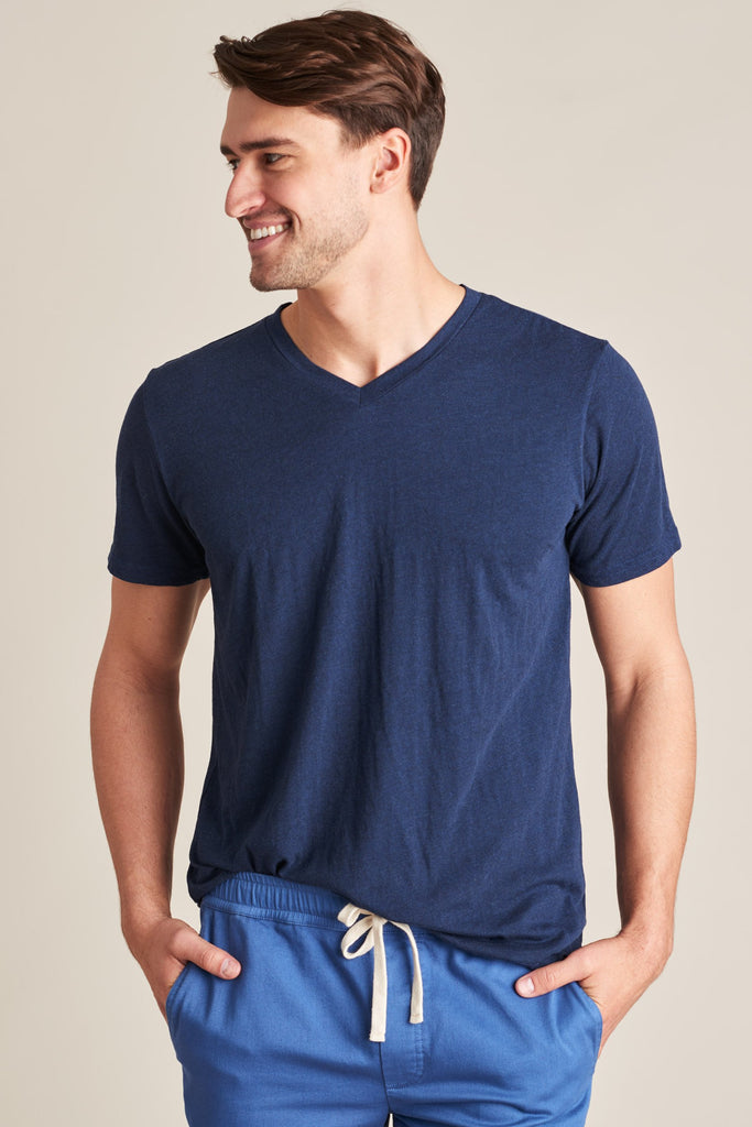 United By Blue - Mens V-Neck T-Shirt - Standard Tee Blue