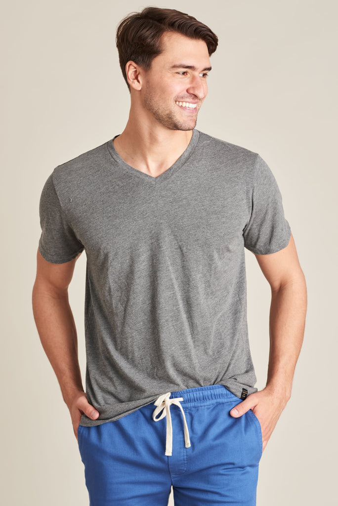 United By Blue - Mens V-Neck T-Shirt - Standard Tee Grey