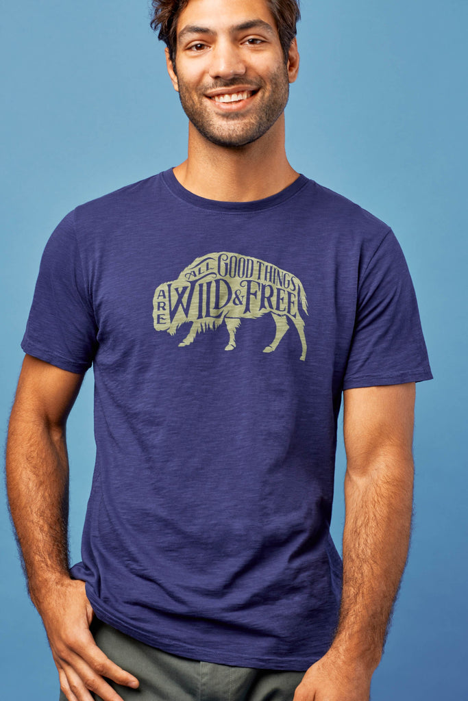 Wild and Free T-Shirt - 100% Organic Cotton - Blue