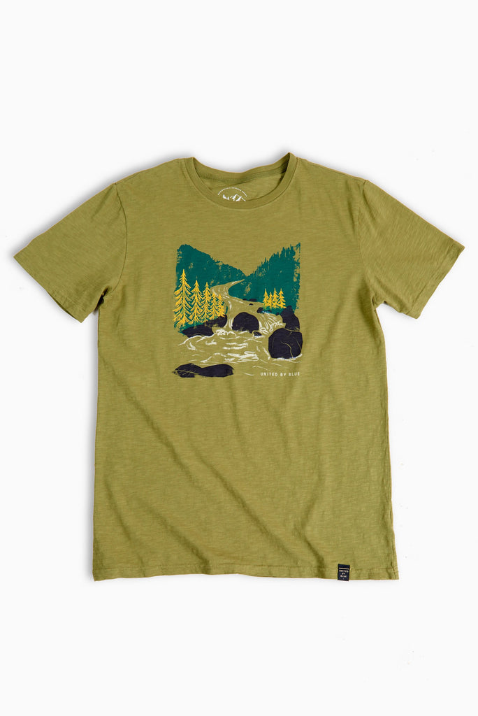 United By Blue - Mens Woodcut River Olive Tee - T-Shirts