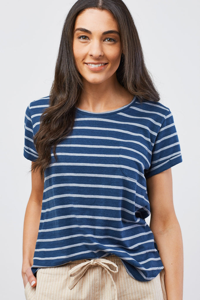 Womens Standard Striped Pocket T-Shirt
