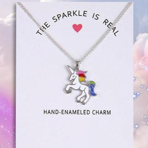 Hand Enamelled Sparkle Unicorn Necklace