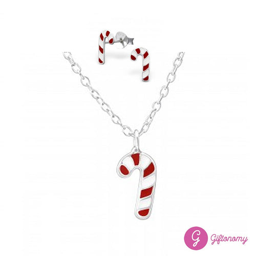 Candy Cane Necklace & Earrings Set