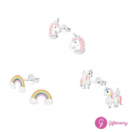 Pink Unicorn Earrings Set