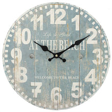 Load image into Gallery viewer, Distressed Look Blue Beach Wall Clock