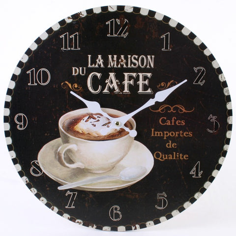 Black La Maison du Cafe Wall Clock