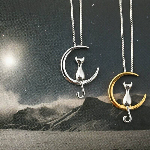 Cat & Moon Necklace