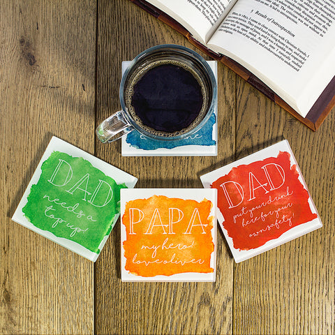 Coastal Watercolour Personalised Coaster