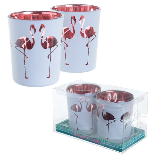 Flamingo Tea Light Holder Set of 2