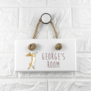 Jumping Nutbrown Hare Door Sign