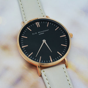 Black Dial Stone Leather Watch