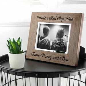 World's Best Step-Dad Wooden Frame