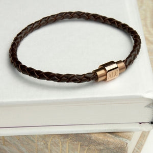 Brown & Gold Woven Leather Bracelet