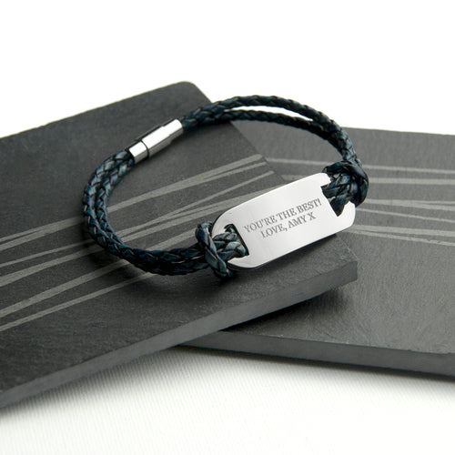 Navy Statement Leather Bracelet