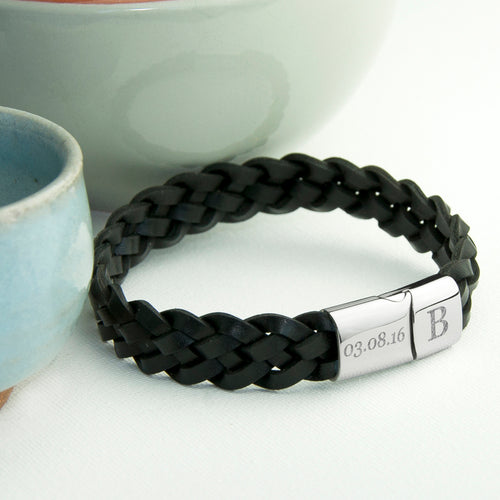 Interwoven Black Leather Bracelet