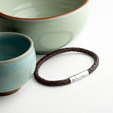 Load image into Gallery viewer, Cedar Brown Woven Leather Bracelet