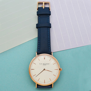 Ladies Navy Leather Watch