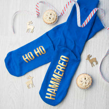 Load image into Gallery viewer, Adult Cobalt & Canary Christmas Socks