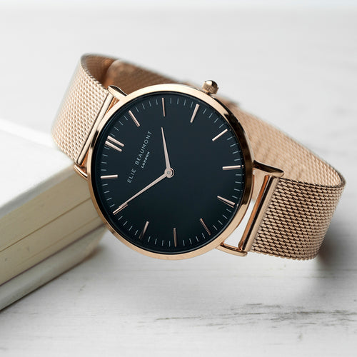 Rose Gold Metallic Mesh Strapped Watch