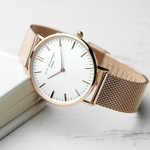 Rose Gold Metallic Mesh Strapped Watch (White)