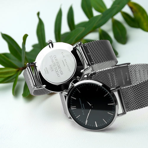Black Dial Metallic Mesh Strapped Watch