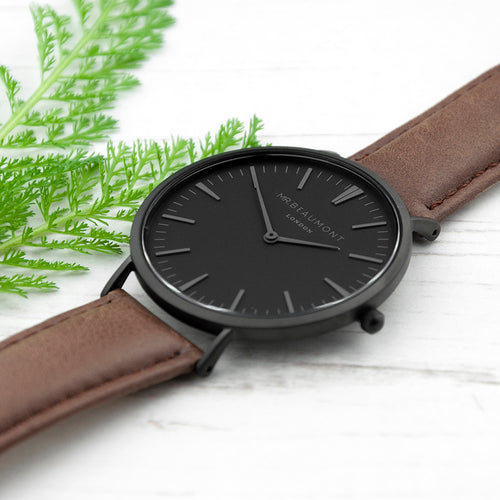Black Dial Brown Leather Watch