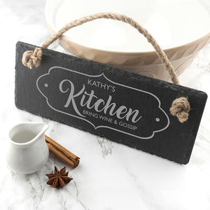 Our Kitchen Slate Hanging Sign