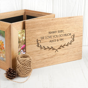Leaf Design Oak Photo Keepsake Box