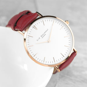 Ladies Berry Red Leather Watch