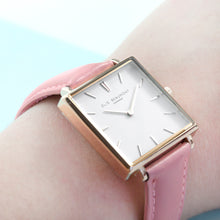 Load image into Gallery viewer, Blush Pink Square Leather Watch