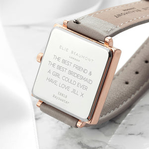 Shell Grey Square Leather Watch