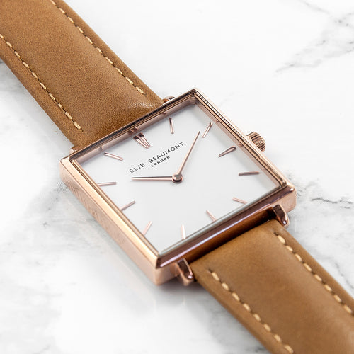 Ladies Tan Square Leather Watch