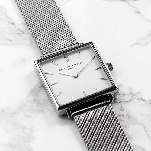 Silver Metallic Square Watch