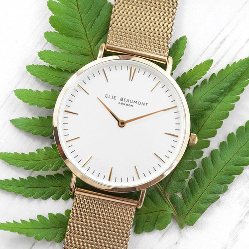 Yellow Gold Mesh Strapped Watch